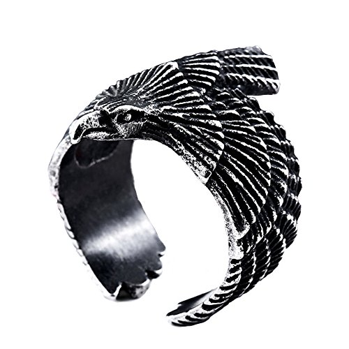 SINLEO Freedom Vintage Silver Black American US Eagle Stainless Steel Men Ring Gothic Biker Band Size 7