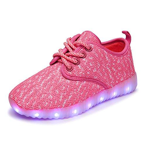 Denater Boys & Girls & Kids & Toddlers LED Light Up Shoes Flashing Sneakers Pink