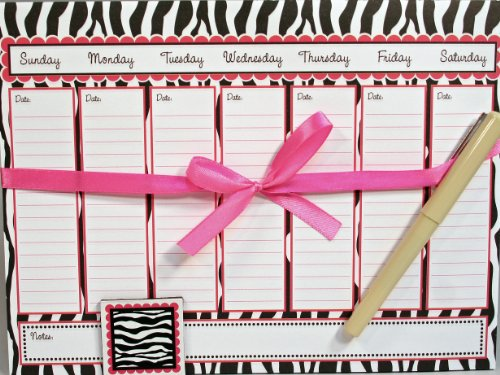 Creative Hobbies® Magnetic Memo Weekly Calendar Notepad Set, 52 Sheets with Pen & Decorative Magnet - Zebra Design
