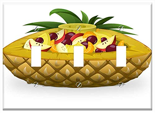 (Switch Plate Triple Toggle - Pineapple Boat Fruits Salads Pineapples Foods)
