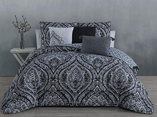 Steve Madden Vera 6-piece Comforter Set, Queen, Black ()