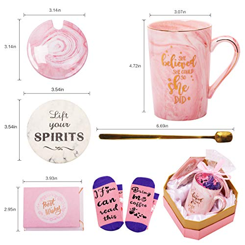 Jumway She Believed She Could So She Did Mug - Congratulations Gifts And Graduation Gifts for Her - Spiritual Inspiritional Gifts for Women,Going Away,Job Change,Birthday Gifts Pink Marble Mug 14 Oz