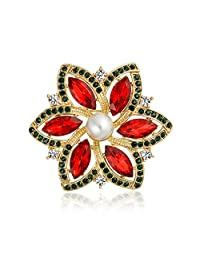 Gold Plated Poinsettia Crystal Simulated Pearl Christmas Pin
