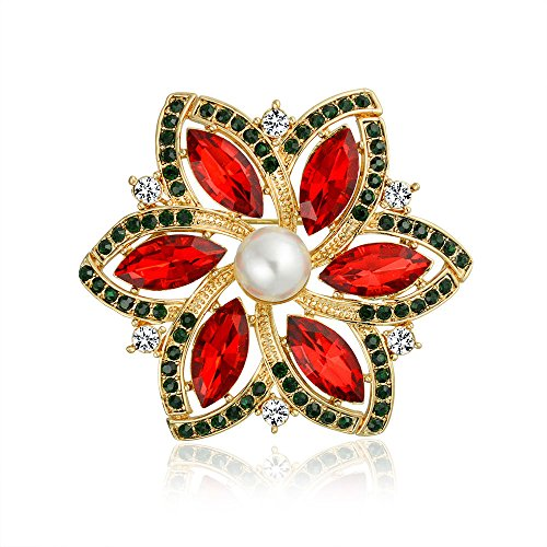 Bling Jewelry Red Marquise Crystal Simulated Pearl Fashion Large Statement Holiday Poinsettia Flower Brooch Pin for Women Gold Plated
