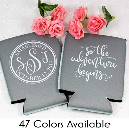 Personalized Wedding Can Coolers The Adventure Begins Multiple Colors/Quantities Available Personalized Wedding Favors Neoprene Can -