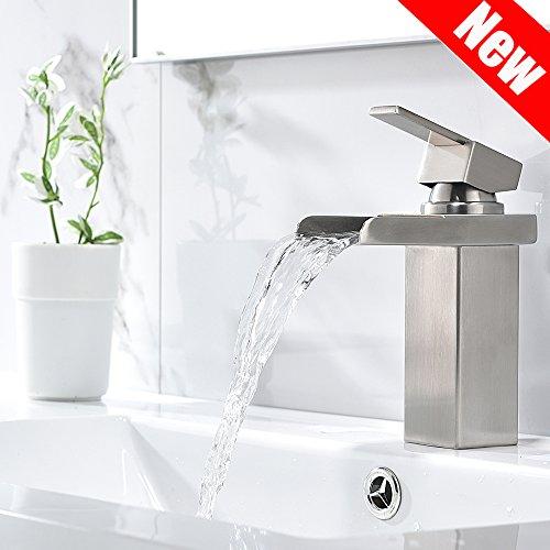 PHIESTINA Modern Single Handle Waterfall Brushed Nickel Bathroom Sink Faucet, Vessel Vanity Sink Faucet With Water Supply Lines,No Drain