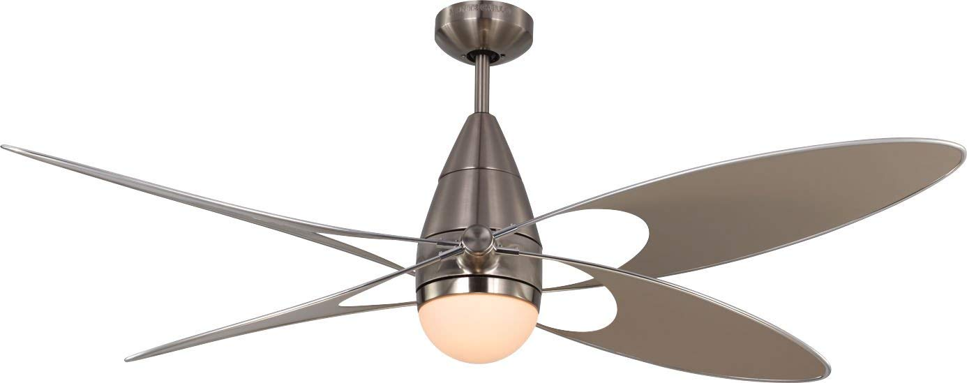 Monte Carlo 4BFR54BSD Butterfly Modern 54 Outdoor Ceiling Fan with Light and Wall Hand Remote Control, 4 Blades, Brushed Steel