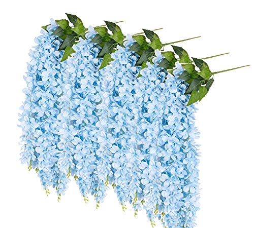 April 3Pcs Artificial Wisteria Flowers Vine Ratta Hanging Garland Silk Flowers Hanging Flower Plant for Home Party Wedding Decor and Other Various Events