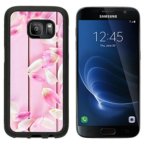 Luxlady Samsung Galaxy S7 Aluminum Backplate Bumper Snap Case IMAGE ID: 35762767 Fresh tulips petals on pink rustic wooden boards