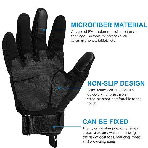Nasharia Gants Tactiques Renforcés Ecran Tactile Respirable pour Auto Moto, Vélo, Motocross, Combat, Camping,Randonné… 3