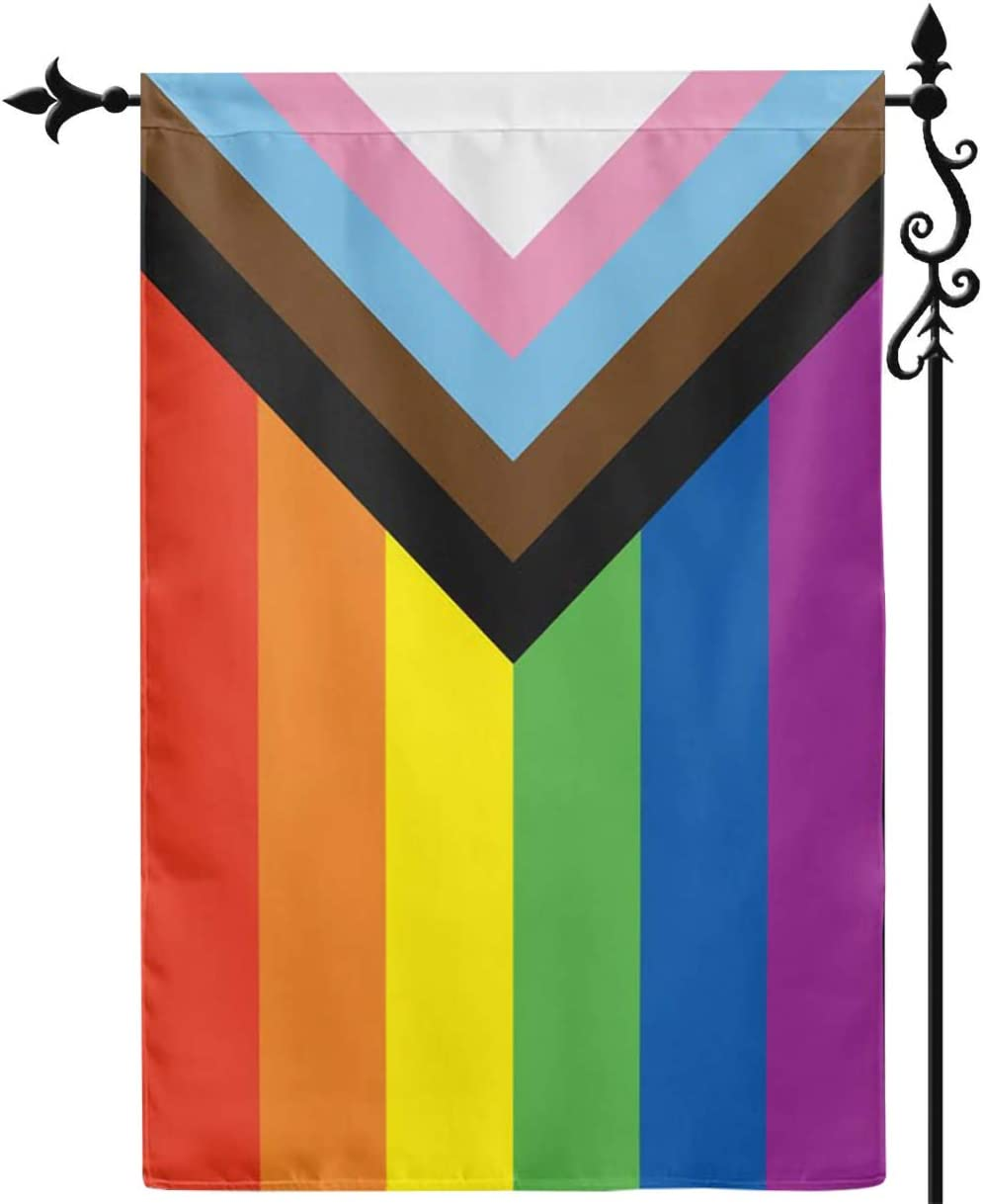 Jayus Inclusive Progress Gay Pride LGBTQ Yard Garden Flag- LGBT Philadelphia Rainbow Garden Flags Banners- Double Side with Bright Wide Stripes Lesbian Gay Pride for Room Yard Sign 12.5x18 Inch