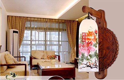 Modernes, minimalistisches LED Keramik Wandleuchte Halle Balkon Schlafzimmer Bettkopfteil aus solidem Holz Wand Lampen, 28 * 43 cm