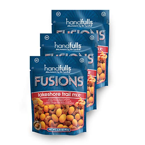 Fusions Lakeshore Trail Mix (3-Pack) Chicago Trail Mix by Handfulls, gourmet popcorn-flavor with cheddar almonds and salted caramel cashews . Gluten-free, Non-GMO, OU Kosher, Vegetarian (3.25 oz bags)