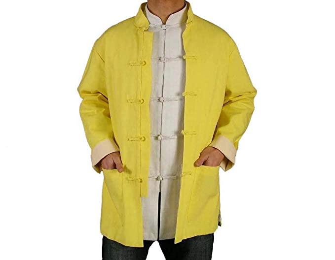 0242c43083 Fine Linen Golden Kung Fu Martial Arts Tai Chi Jacket Coat XS-XL Tailor Made