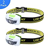 Ideapro LED Headlamp, 4 Lighting Modes Headlight, Battery Powered Headlamp Flashlight Brightest and Lightweight, Waterproof with Adjustable Headband and Flashing SOS Light for Camping Running 2 Pack