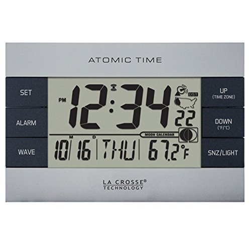 La Crosse Technology 617-1280 Atomic Digital Alarm Clock, Silver