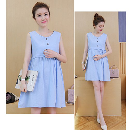 Blue Fashion Breastfeeding Nursing Dress Sleeveless Summer Maternity ZEVONDA Mothers Outdoor zPwHxFnqE