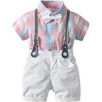 SiQing - Camisetas para bebé o niño con Lazo a Cuadros, Pantalones Cortos Lisos