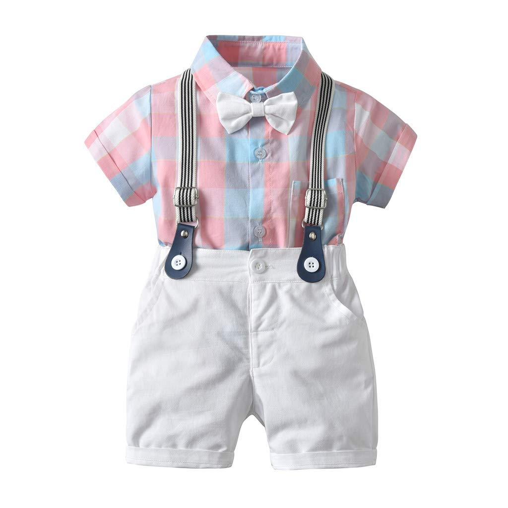 SUImeito 6M-24M Baby Boy Short Sleeve Plaid Print Bow Tie Gentle Top + Solid Color Shorts + Strap Three Piece Set Gentleman