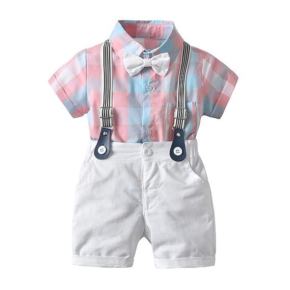 a7d26be99 Berimaterry Conjuntos Camisa Bebé Niño, Ropa Recién Nacidos Bebe Niño  Camiseta Mangas Cortas Tops y
