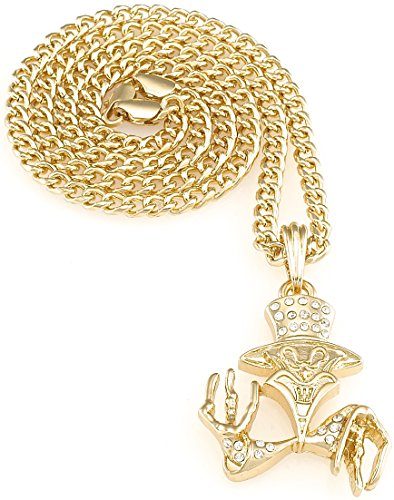 Ringmaster Joker Iced Out Pendant 24 Inch Necklace Gold Color Cuban Style (Joker Pendant)