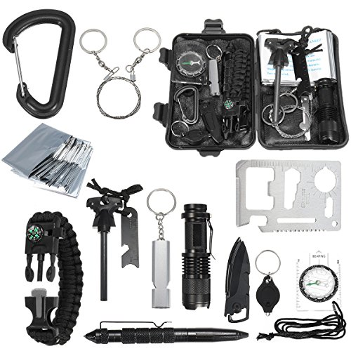 Lingduan 13-1 Survival kit Set Outdoor Camping Travel Multifunction First aid SOS EDC Emergency Survival Kit Tactical for Wilderness Stealth Gear for Everyday Carry by Lingduan