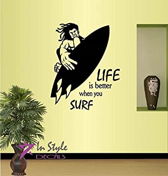 amazon com wall vinyl decal home decor art sticker life is better