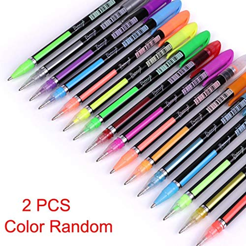 2 Pcs Pastel Glitter Colored Gel Pen Drawing Writing Marker Pen School Office by Corgy