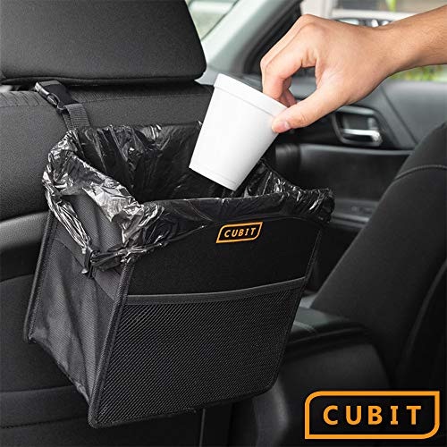 Cubit Refillable Car Trash Can – Hanging Waste Basket & Interior Organizer, Universal Storage Bin for Auto Truck Van and SUV