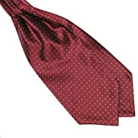 Weixinbuy Men's Silk Blend Polka Dot Ascot Ties Silk Scarves/Cravat