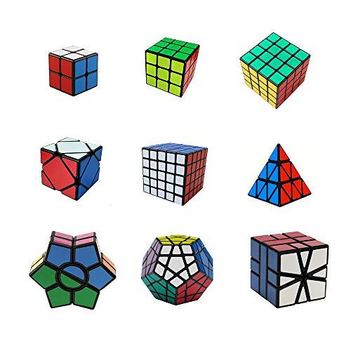 H XD global Speed Cube Set, Magic Cube Bundle 2x2 3x3 4x4 5x5 Sticker Cube Puzzle Collection, Black - Set of 9 ()