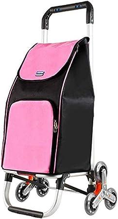 CAMORNY Carro De Compras Portátil Escalera Escalada Coche Carro Supermercado Plegable Polea Desmontable Bolsa Lona Impermeable Marco De Aluminio Rosa Escalera Escalera Carro Ligero De Mano De Viaje: Amazon.es: Hogar