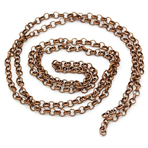- Copper Rollo Chain 16 Feet - 3/16 x 3/16 Antique Copper Chain ODSF-11531