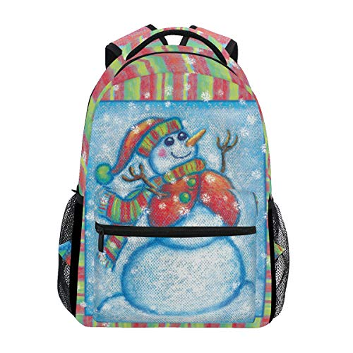 School Backpack Bookbag Snowman Paint Christmas Holiday Colorful Rucksack Daypack Waterproof for Middle School Travel Girls Boys Teen