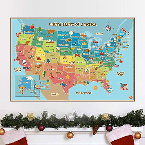 HUABEI Wall Decals United States America Geography Specialit