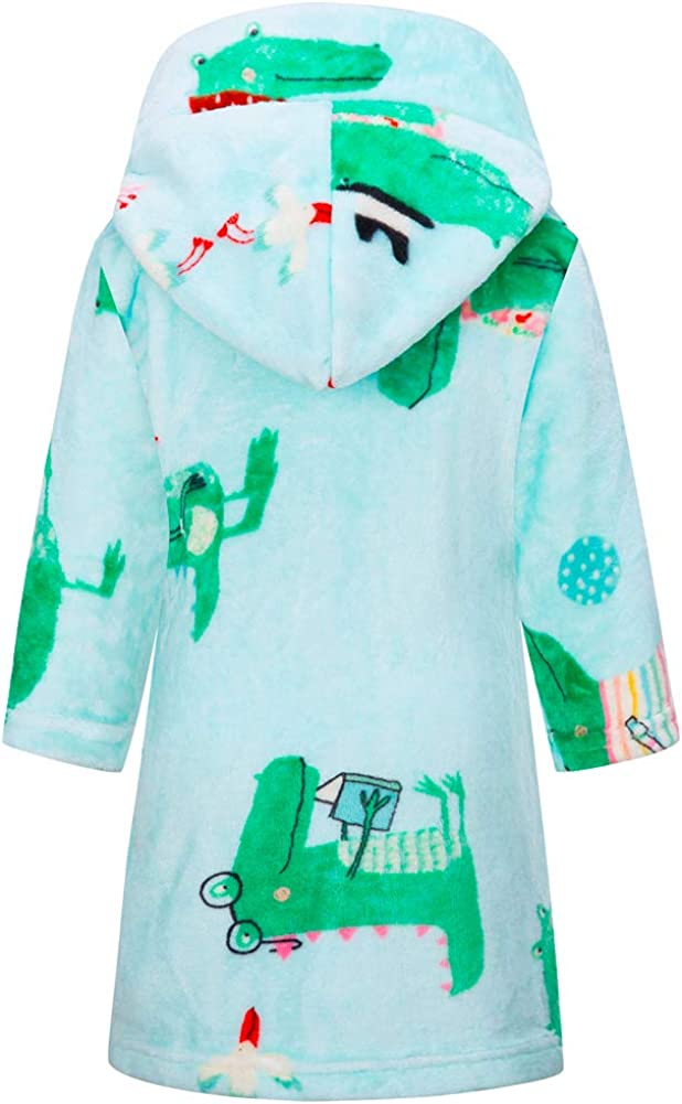 Cartoon Crocodile, 6 Years Boys Girls Bathrobes Toddler Kids Hooded Robes Plush Soft Coral Fleece Pajamas Sleepwear for Girls Boys