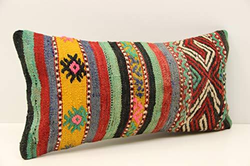 (Lumbar kilim pillow 10x20 inch (25x50 cm) Oriental Boho pillow Turkish Kilim pillow cover Chair pillow Small Oblong Kilim Cushion Cover Tribal Pillow Handmade mini pillow)