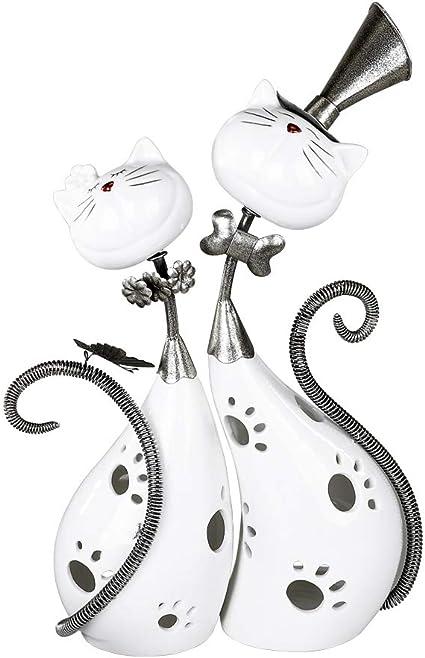 Modernes Windlicht Lovely Cats aus Keramik und Metall weiß//silber 29x37 cm Formano