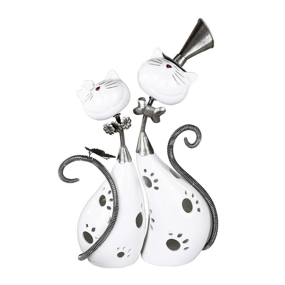 Modernes Windlicht Lovely Cats aus Keramik und Metall wei/ß//silber 29x37 cm