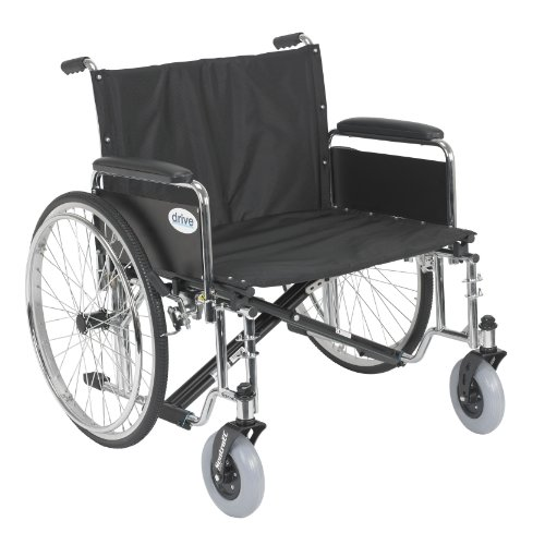 Drive Medical Sentra EC Heavy Duty Extra Wide Wheelchair with Various Arm Styles Arms, Black, 26