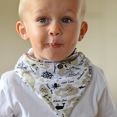 Stadela Baby Adjustable Bandana Drool Bibs for Drooling and Teething Nursery Burp Cloths 4 Pack Baby Shower Gift Set for Boys – Pirate Adventure with Treasure Map Skull Anchors Boat Ahoy Stripes by STADELA (Image #2)