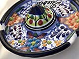 Talavera Ceramic Sombrero Ashtray 4 1/2'' Modern Art Design Authentic Puebla Mexico Pottery Hand Painted Design Vivid Colorful Art Decor Signed [Brown Flowers]