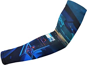 Lucaeat Auto Interior Dashboard Pattern Arm Compression Sleeve, Arthritis, UV Protection - Youth Adult Runners (1 Pair)