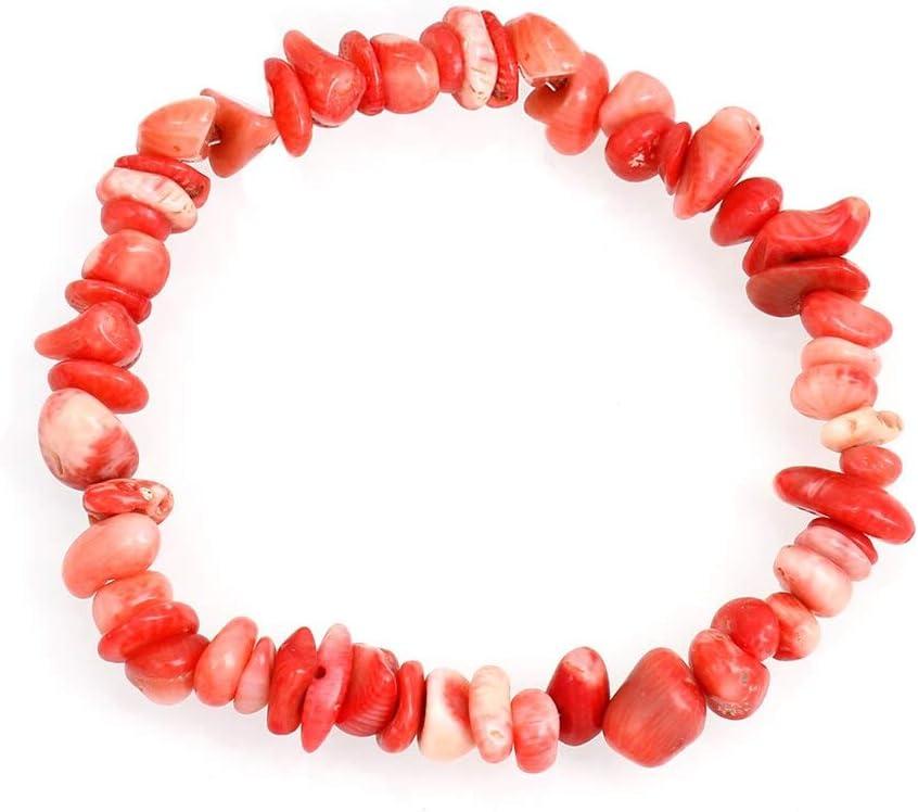 LULAYX Pulsera de Mujer Color Rojo Rosa Blanco Azul Coral Piedra Pulseras Chips Beads Single Strand Stone Charm Bracelet Mujeres Joyería Regalo