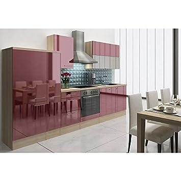 Respekta Premium Kuche Einbau Kuchenzeile 310 Cm Akazie Bordeaux