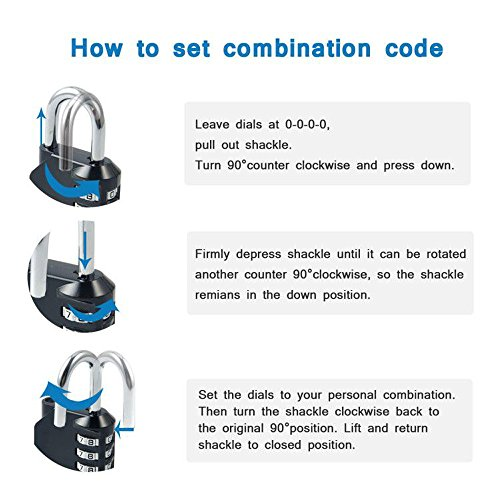 Blingco Combination Lock, 4 Digit Anti Rust Padlock Set Security Padlock for Gym, Sports, Fence, School and Employee Locker, Outdoor, Hasp Cabinet and Storage, 2 Pack by Blingco (Image #4)