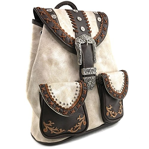 West Trendy Western Leather Purse Backpack Conceal Carry Beige Rhinestone Justin Handle Top Western 1Twd56wq