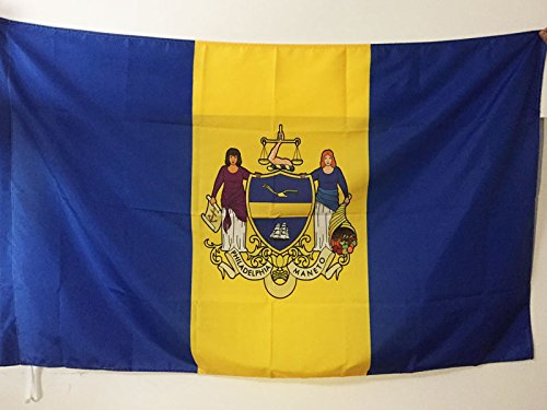 PHILADELPHIA FLAG 3' x 5' for a pole - PHILADELPHIA CITY - PENNSYLVANIA FLAGS 90 x 150 cm - BANNER 3x5 ft with hole - AZ FLAG
