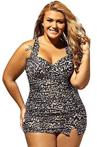 Shirred Tankini Tops Bottom (Arctic Cubic 2 PC Plus Size Padded Floral Printed Shirred Ruched Tankini Tank Top And Highwaist Skirt Bottom Swimsuit Set 3XL)