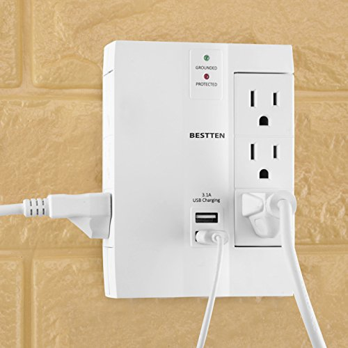 Large Product Image of BESTTEN 6 Outlet (3 Swivel) Side Wall Tap Adapter, Surge Protector with 2 USB Charging Ports (3.1A total), 1000 Joule Surge Suppressor, ETL Certified, White